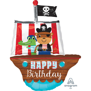 Pirate Ship Happy Birthday SuperShape Foil