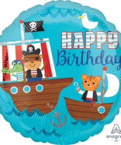 Pirate Ship Happy Birthday Foil Balloon