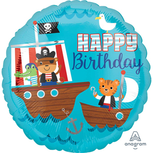Pirate Ship Happy Birthday Foil Balloon