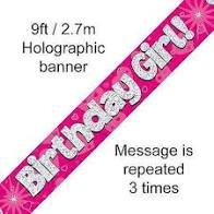 Birthday Girl Holographic Banner
