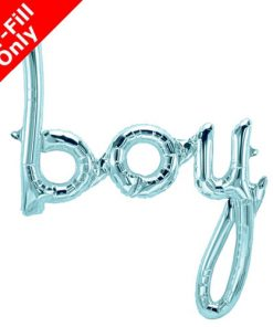 Air Fill Boy Pastel Blue Script Foil