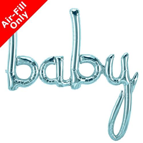 Air Fill Baby Pastel Blue Script Foil