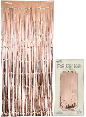Foil Door Curtain Metallic Rose Gold