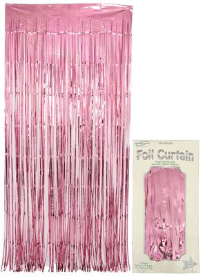 Foil Door Curtain Metallic Light Pink