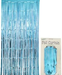 Foil Door Curtain Metallic Light Blue
