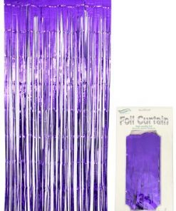 Foil Door Curtain Metallic Purple