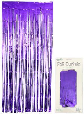 Foil Door Curtain Metallic Purple