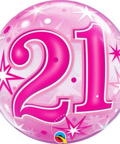 21 Pink Starburst Sparkle Single Bubble