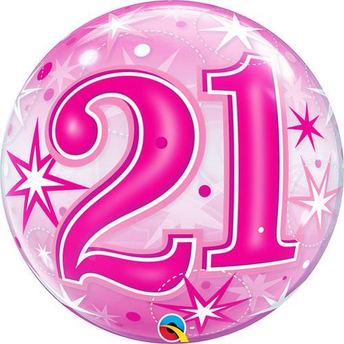 21 Pink Starburst Sparkle Single Bubble