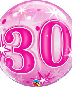30 Pink Starburst Sparkle Single Bubble