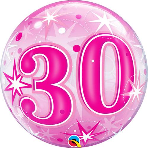 30 Pink Starburst Sparkle Single Bubble