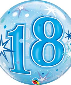 18 Blue Starburst Sparkle Single Bubble