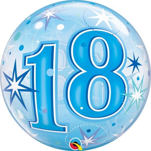 18 Blue Starburst Sparkle Single Bubble