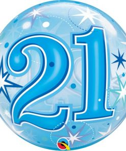 21 Blue Starburst Sparkle Single Bubble