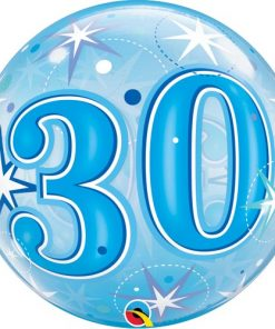 30 Blue Starburst Sparkle Single Bubble