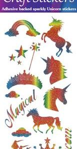 Eleganza Craft Stickers Unicorn Rainbow Glitter