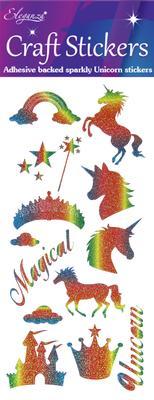 Eleganza Craft Stickers Unicorn Rainbow Glitter