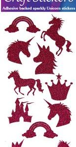 Eleganza Craft Stickers Glitter Unicorn Set Fuchsia