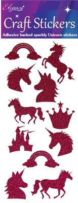 Eleganza Craft Stickers Glitter Unicorn Set Fuchsia