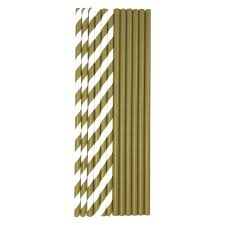 Gold and White Paper Straws