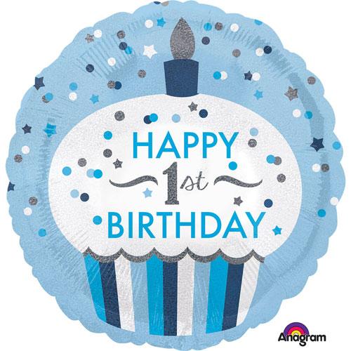1st Birthday Cupcake Boy Foil