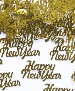 Happy New Year Gold Metallic Confetti