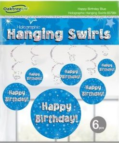 Hanging Swirls Blue Happy Birthday