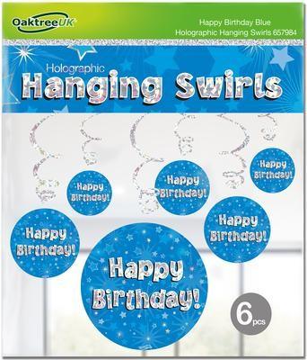 Hanging Swirls Blue Happy Birthday