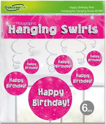 Hanging Swirls Pink Happy Birthday