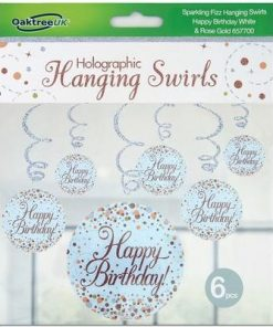 Hanging Swirls Rose gold Happy Birthday