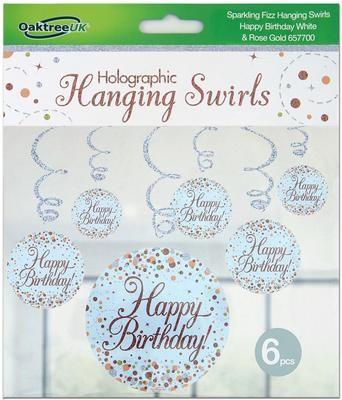 Hanging Swirls Rose gold Happy Birthday