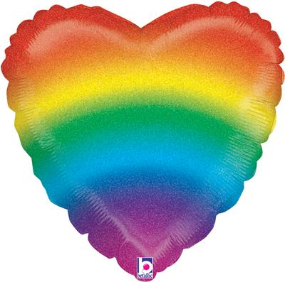 Glitter Rainbow Heart Holographic Foil