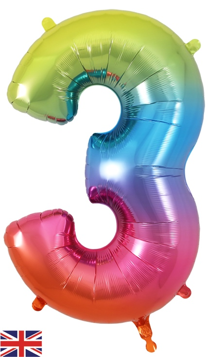 34inch Number 3 Rainbow Foil