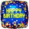Happy Birthday Pixels Square Foil