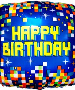 Happy Birthday Pixels Square Foil