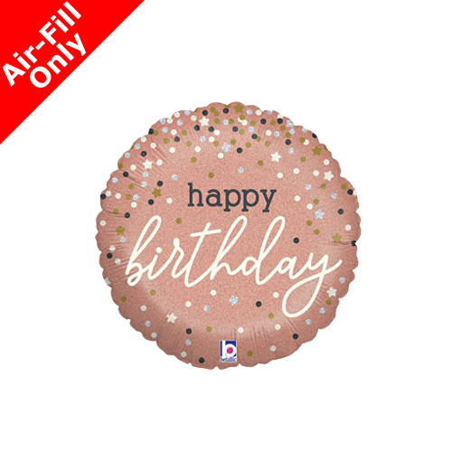 9inch Air Filled Birthday Confetti Rose Gold Foil