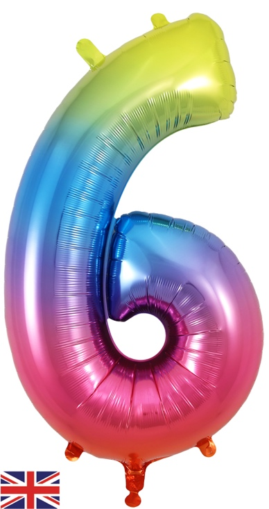 34inch Number 6 Rainbow Foil