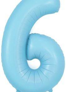 34inch Number 6 Matte Blue Foil