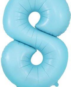 34inch Number 8 Matte Blue Foil