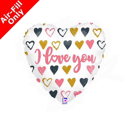 9inch Air-Fill Rose Gold Hearts I Love You Foil
