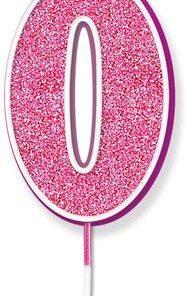 Oaktree Glitter No.0 Candle 7.5cm Pink/silver Glitter