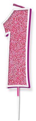 Oaktree Glitter No.1 Candle 7.5cm Pink/silver Glitter