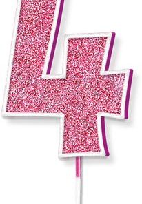 Oaktree Glitter No.4 Candle 7.5cm Pink/silver Glitter