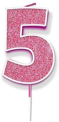 Oaktree Glitter No.5 Candle 7.5cm Pink/silver Glitter