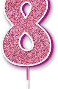 Oaktree Glitter No.8 Candle 7.5cm Pink/silver Glitter
