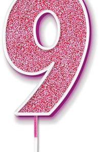 Oaktree Glitter No.9 Candle 7.5cm Pink/silver Glitter
