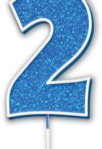 Oaktree Glitter No.2 Candle 7.5cm Blue/silver Glitter