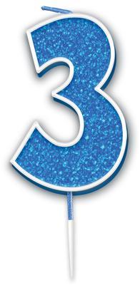 Oaktree Glitter No.3 Candle 7.5cm Blue/silver Glitter