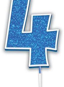 Oaktree Glitter No.4 Candle 7.5cm Blue/silver Glitter
