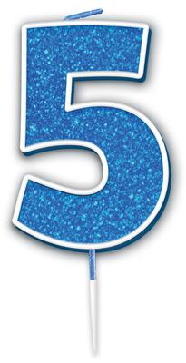 Oaktree Glitter No.5 Candle 7.5cm Blue/silver Glitter